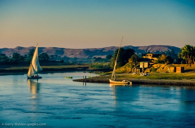 Life in a small village on the banks of the Nile between Aswan and Luxor begins to wake in the arly morning sunlight.