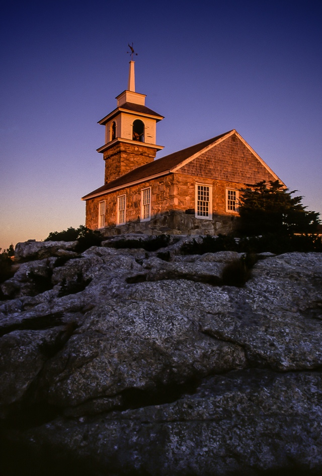 Sunrise illuminates the small chapel on the Isles of Shoals, New Hampshire, U.S.A.