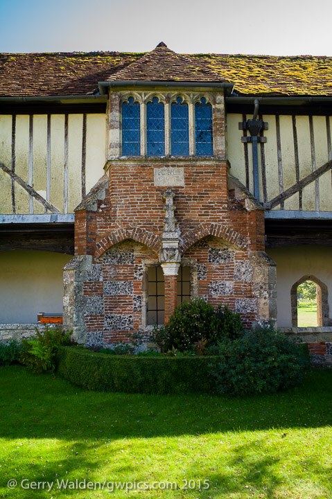 Detail of the historic ambulatory building at the Hospital of St. Cross in Winchester, Hampshire. These date back to the 12th century.