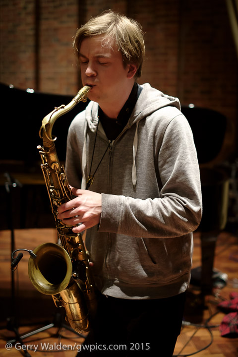 Norwegian jazz saxophonist Marius Neset during sound checks for his concert at the Turner Sims Concert Hall in Southampton (England)