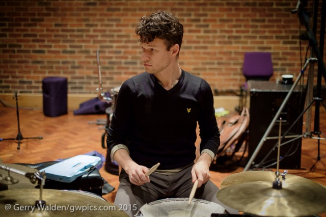 Norwegian drummer Anton Eger at soundchecks with the Marius Neset Quartet in the Turner Sims Concert Hall, Southampton