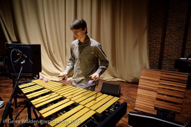 English vibraphone player Jim Hart at soundchecks with the Marius Neset Quartet in the Turner Sims Concert Hall, Southampton