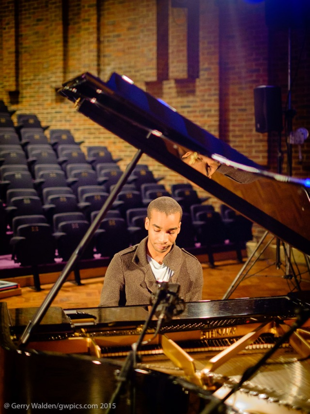 British pianist Peter Edwards during soundchecks at the Turner Sims Concert Hall in Southampton, England.
