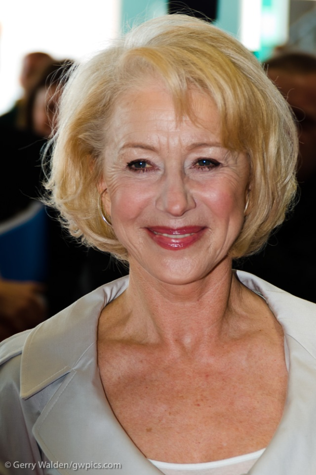 Award winning film actress Helen Mirren (Dame Helen Mirren) touring the new P&O cruise liner Ventura in Southampton during the vessels naming ceremony