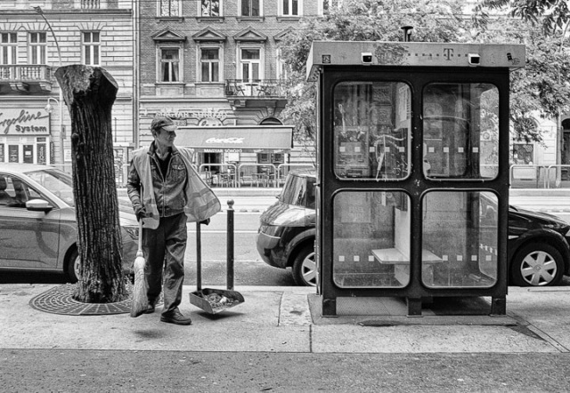 A street sweeper keeps the streets clean in Budapest, hungary