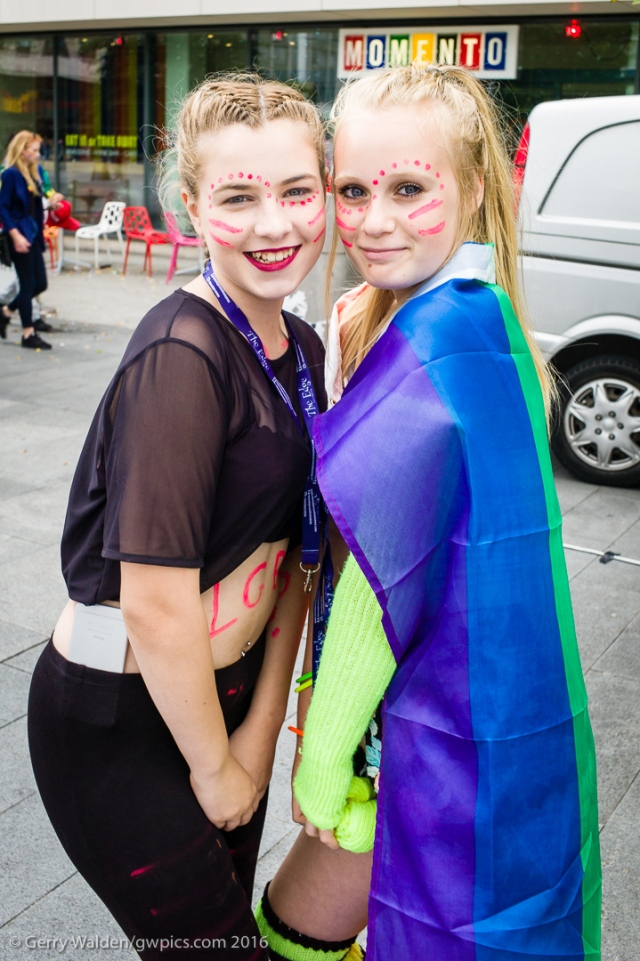 Two young female friends pose together for the camera at the Southampton Pride event, held in the city for the first time in more than a decade.