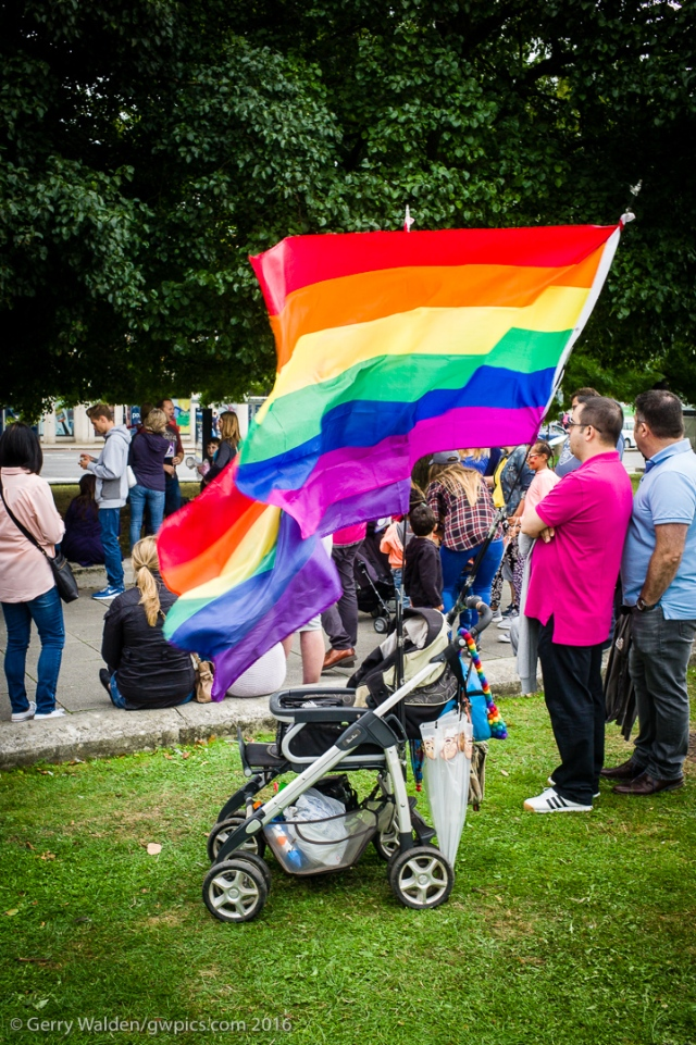 An empty pushchair is used as a flag support at the Southampton Pride event, held in the city for the first time in more than a decade.